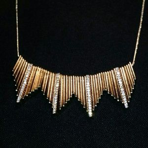 Jewelry - Geometric Triangular Gold & Rhinestone Necklace